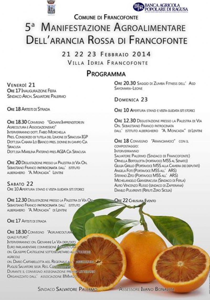 Francofonte (SR) festa dell`arancia rossa 2014