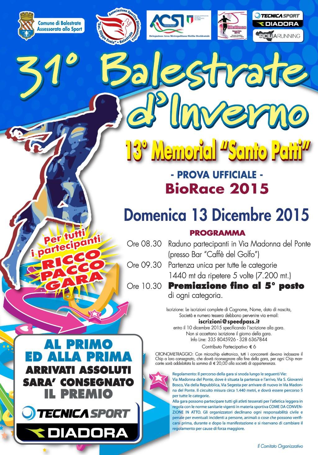 Podismo: Il  BioRace a Balestrate per la 31� Balestrate D�Inverno.