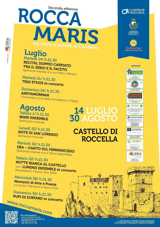 """Dal 14 luglio torna """"Roccamaris. incontri d`estate al Castello"""". Continua la sfida di SiciliAntica Campofelice"""
