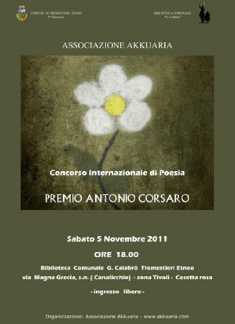Catania 5 novembre 2011 Cerimonia di Premiazione del Concorso Letterario Antonio Corsaro