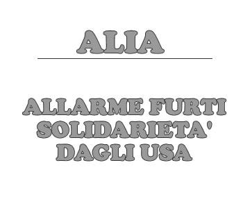 Alia, allarme furti solidariet? dagli USA.