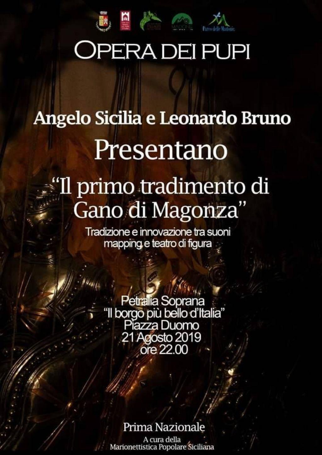 """Opera dei Pupi. A Petralia Soprana, in prima nazionale, """"Il primo tradimento di Gano di Magonza""""."""