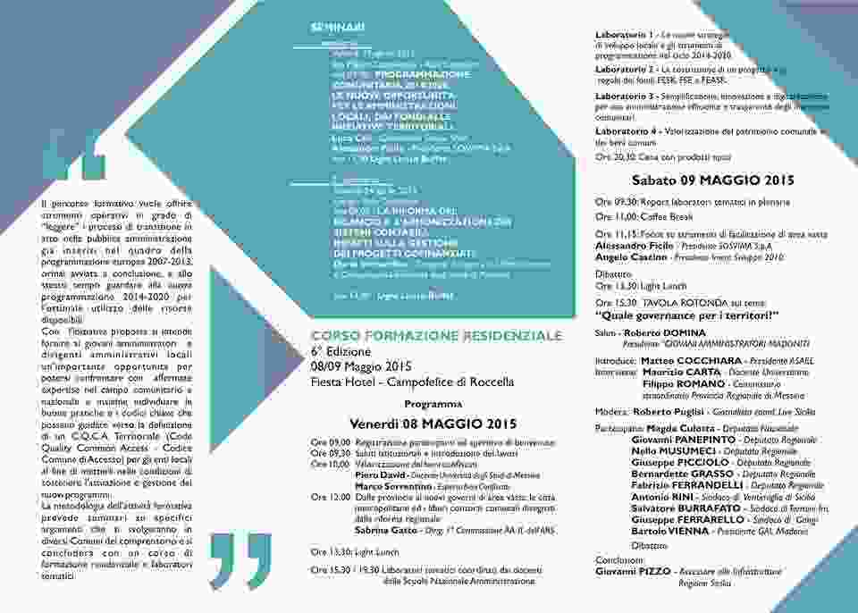 CAMPOFELICE DI ROCCELLA; INFORMAZIONE 2020 8 E 9 MAGGIO SESTO CORSO RESIDENZIALE GAM