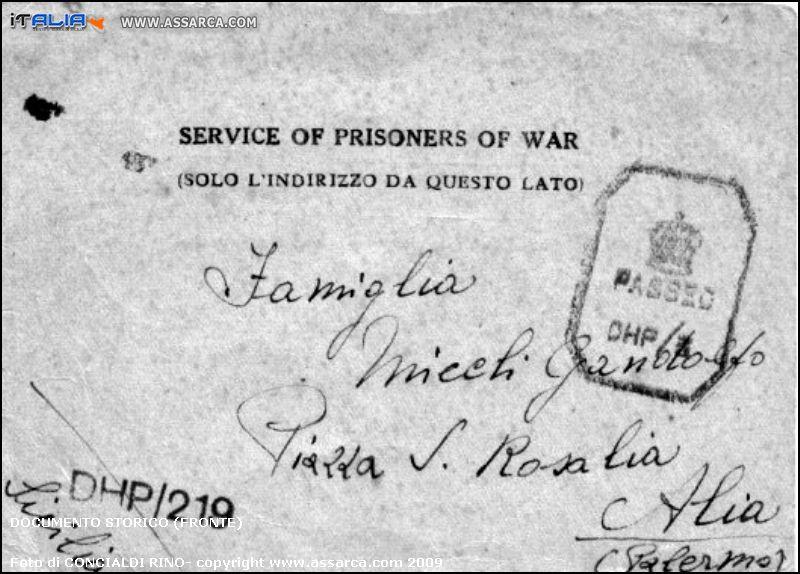 Documento storico (fronte)