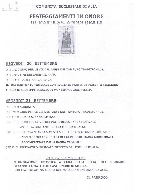 Programma festeggiamenti in onore di Maria SS. Addolorata