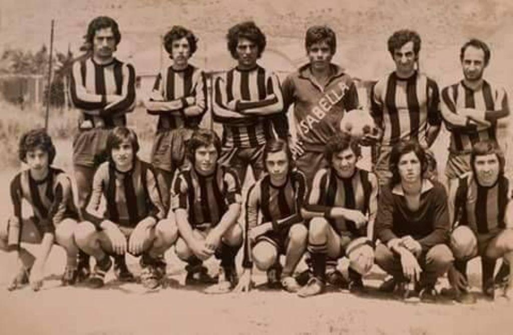 """La mitica squadra """" ISABELLA """" che ha militato nel campionato di 2^ categoria ad Alia intorno agli anni 70"""