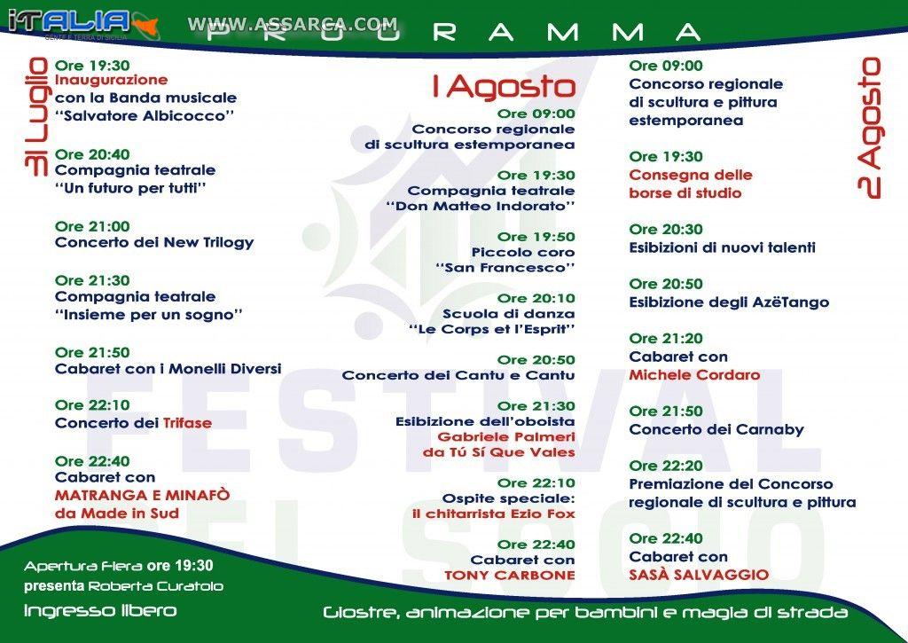 IL PROGRAMMA UFFICIALE DEL FESTIVAL DEL SOCIO 2015