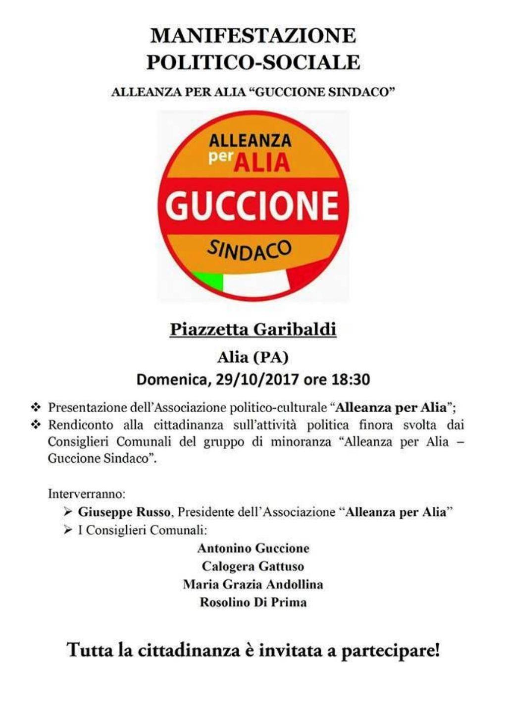 """Manifestazione politico-sociale di """"Alleanza per Alia"""""""